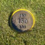 golf course mow over marker sign