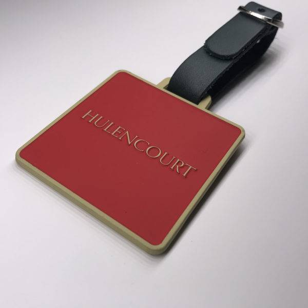 Enamelled Etched Square Golf Membership Bag Tag with a Leather Strap included