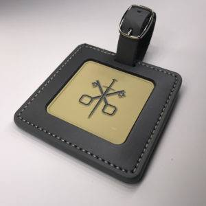 Enamelled Etched Square Golf Membership Bag Tag