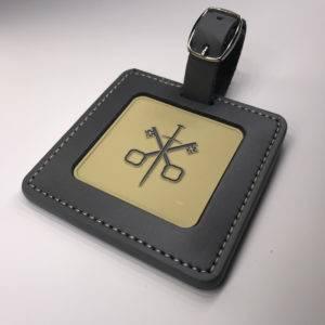 Enamelled Etched Square Golf Membership Bag Tag
